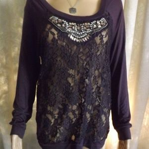 Womens VANITY L/S Blouse - Lace - BLING!! Sz M